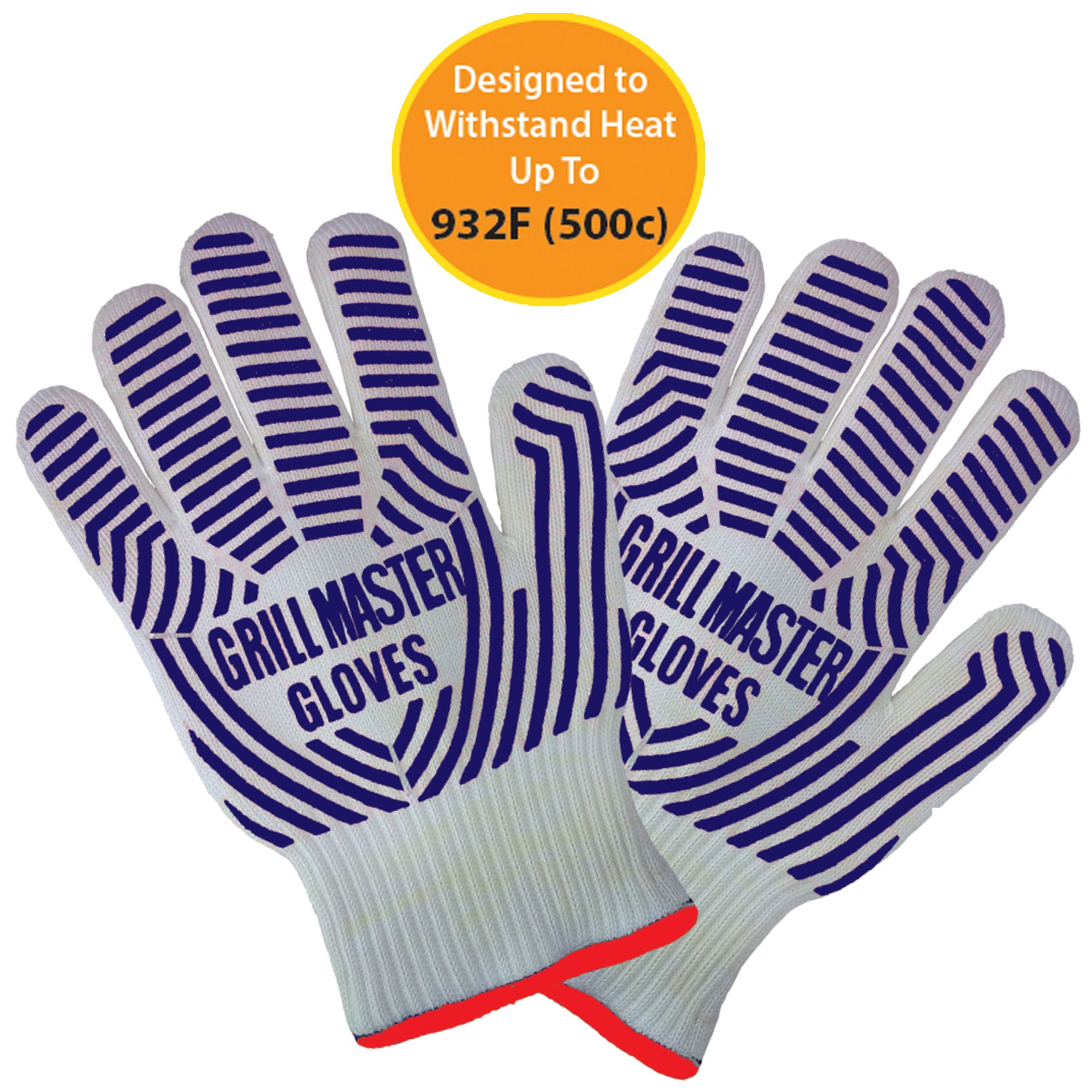 Grill Gloves Heat Resistant Extreme BBQ Gloves Oven Gloves Rated to 932f - Ideal Grilling Gloves by Grill Master (Black)