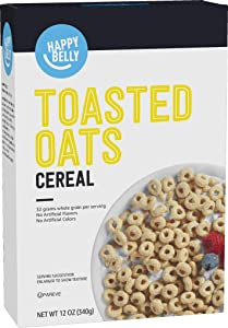 Amazon Brand - Happy Belly Toasted Oats Cereal, 12 Ounce