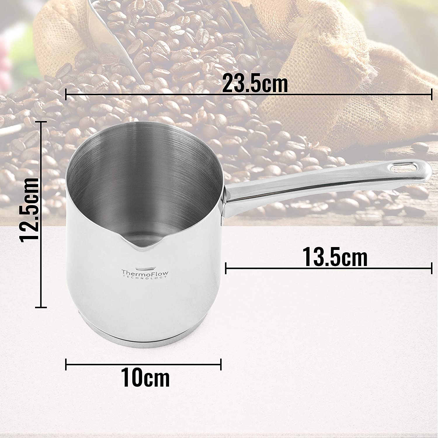 Rosmarino Stainless Steel Turkish Coffee Pot 700 ml Vitapur