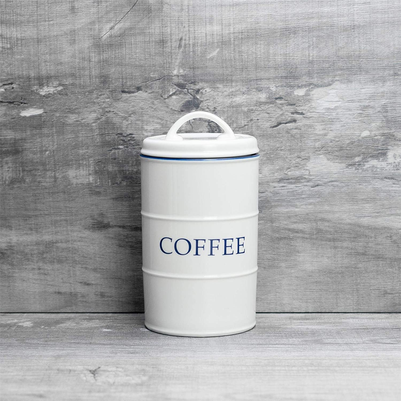 Nicola Spring Bote de Cocina Pack de 3 Blanco//Azul t/é y az/úcar para caf/é Estilo r/ústico