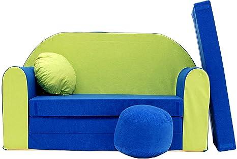 PRO COSMO N Divano Letto per Bambini con Pouf/poggiapiedi/Cuscino, Tessuto,  168 x 98 x 60 cm