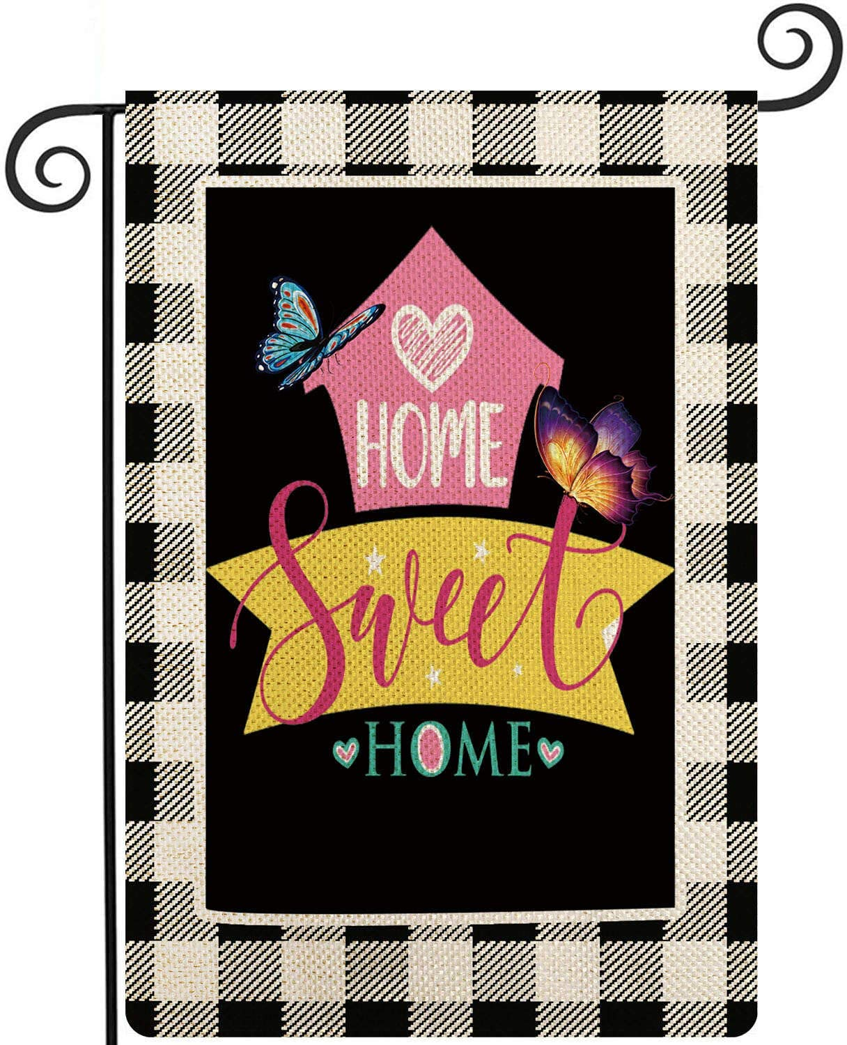 Coskaka Home Decorative Welcome Home Sweet Home Garden Flag Buffalo Plaid Check House Yard Outdoor Flag Black and White Burlap Spring Summer Outside Farmhouse Holiday Flag 12.5 x 18