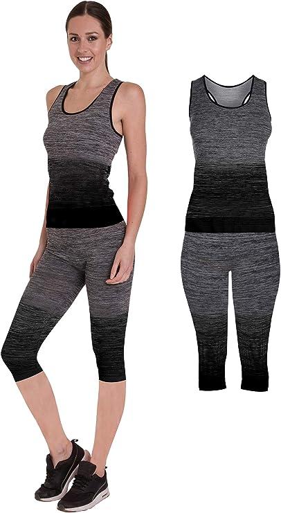 Bonjour Damen Sportbekleidung für Yoga oder Fitness, Weste und bauchfreies Top und Leggings, Stretch Fit, 2 teiliges Set