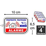 Sticker Alarme Vidéo-Surveillance Autocollant ( Lot de 4 Stickers )
