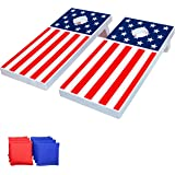 GoSports 4'x2' All Weather Cornhole Game Set - Includes 8 Bean Bags & Game Rules (Choose Between American Flag, Red, and Blue