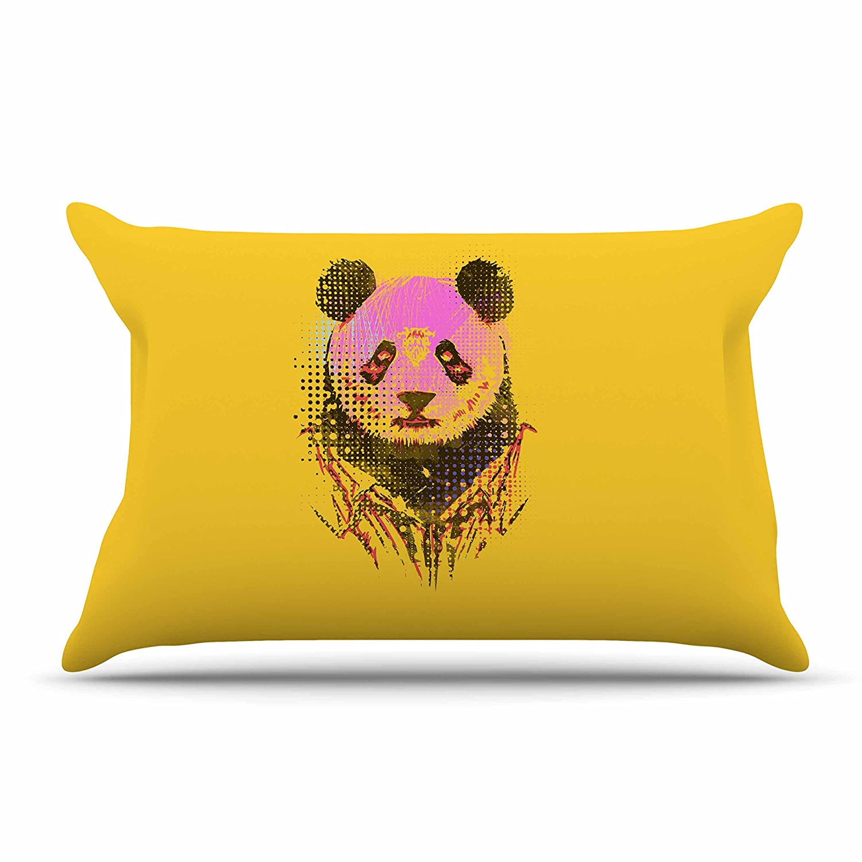 KessインハウスBarmalisiRTB「Dandyパンダ」ピンクイエロー標準枕ケース、30 by 20インチ、30