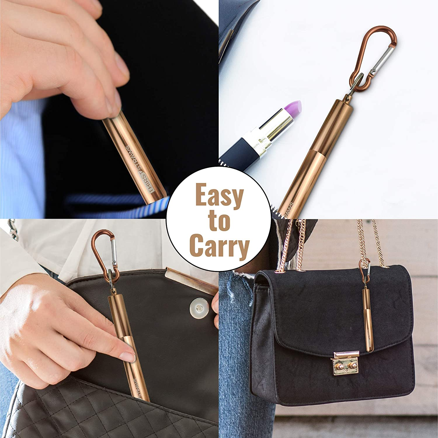 Thirst Straws Telescopic Reusable Straws Home Environment 2 Pack Folding Metal Straw with Case in Stainless Steel Celebrations Ideal for Parties Travel Office