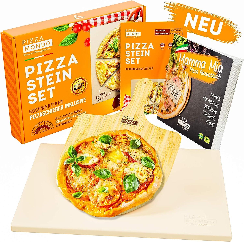 Pizza Mondo® Pizzastein para horno, parrilla & Gasgrill (incluye pala y libro de recetas) Original Pizza Stein-ofen experiencia gracias a la mejor calidad - Backstein rectangular 1,5 cm