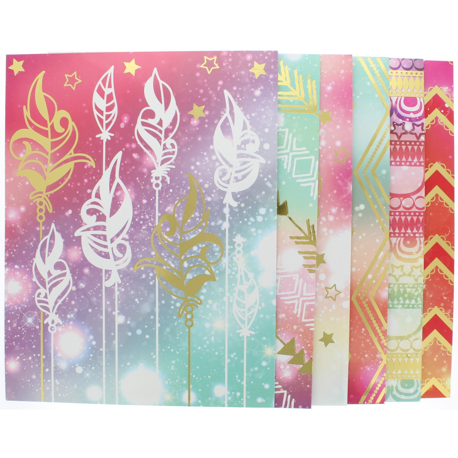 6 Pk. Useful Universe Promarx Tribal Daydream Portfolio, Two Pocket File Folder, Up To 100 Sheets, Letter Size, Assorted Designs by Useful Universe