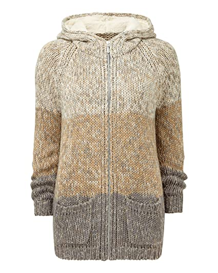 fe4282d8c3a Cotton Traders Women's Knitted Zip Up Hooded Striped Cardigan Jumper