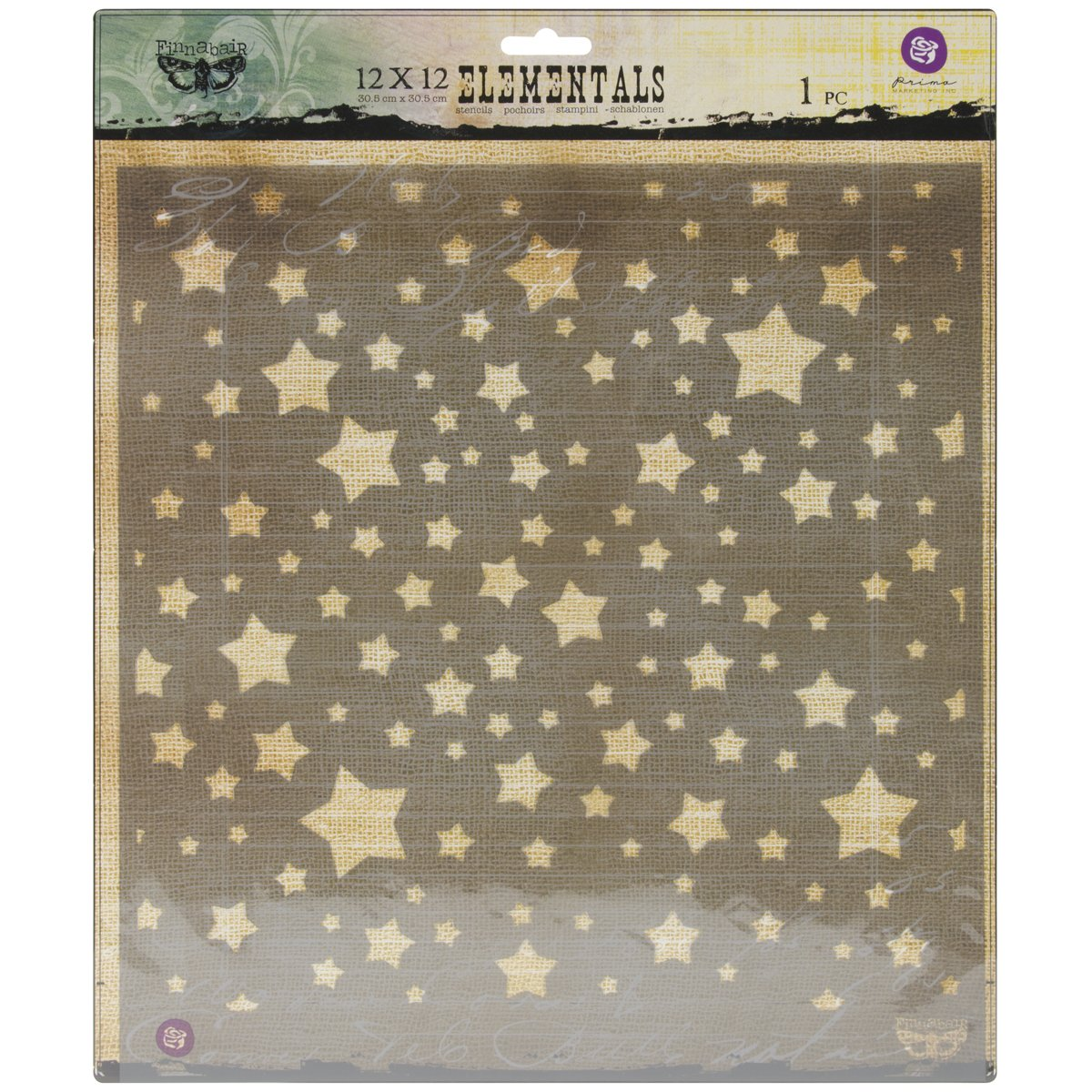 Prima Marketing Elementals Stencil, 12 by 12-Inch, Stars by Prima Marketing