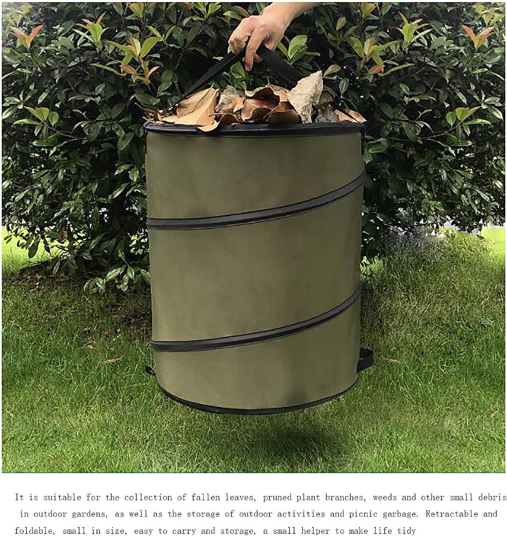 Garbage Storage Bag Portable Collapsible Pop-Up Garden Leaf Trash Can Flowerstrash bag outdoor(diameter46X70cm)-Photo Color 46x70cm LJWLZFVT Garden Garbage Bags