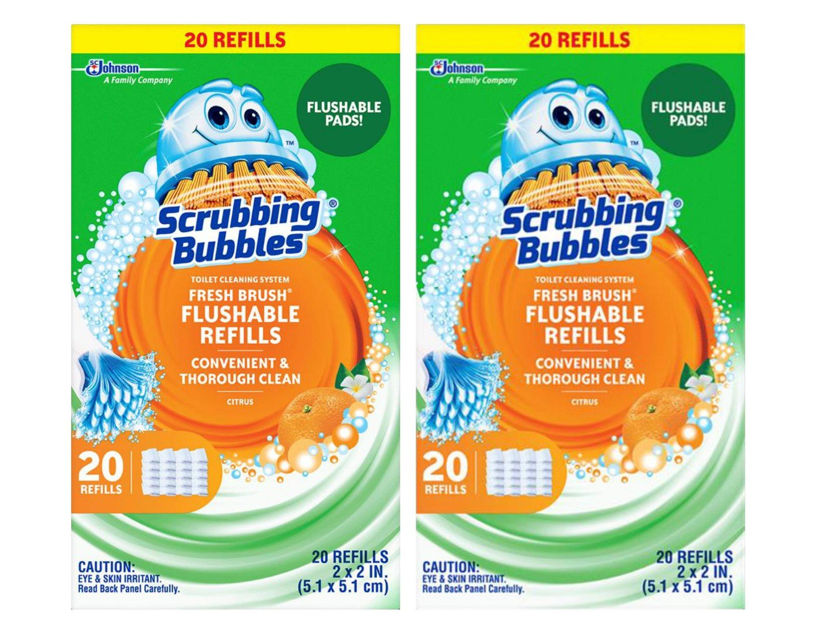 Scrubbing Bubbles Toilet Fresh Brush Flushable Refills 20 CT (Pack of 2)