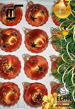 Ms Abstract Handgefertigtes 12 Tlg Glas Weihnachtskugeln Set In