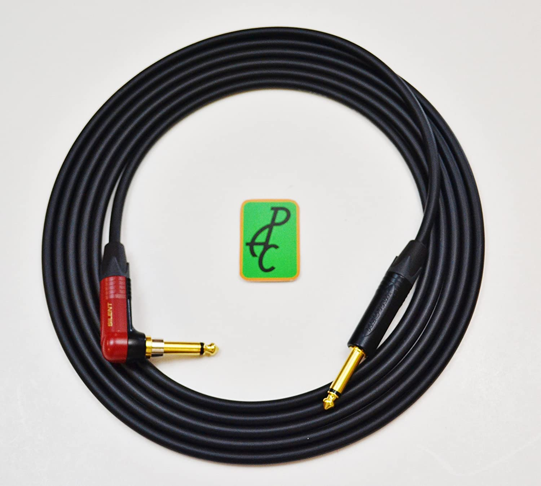 "20 ft Mogami 2524 SILENT Instrument Cable 1/4"" Neutrik TS ST - RA 81KxS4k849L"