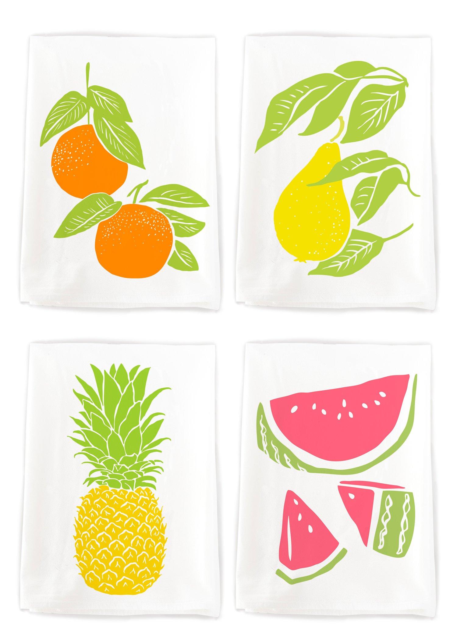 Rigel Stuhmiller Farmer's Market Themed 4-Pack Assortment ''Summer Fruit Salad'' Screenprinted 100% Cotton Flour Sack Dish Towels by Rigel Stuhmiller