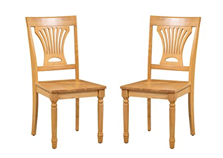 Trithi Furniture Portland Solid Wood Kitchen Dining Chair with Wood Seat, Set of 2 in Oak Finish