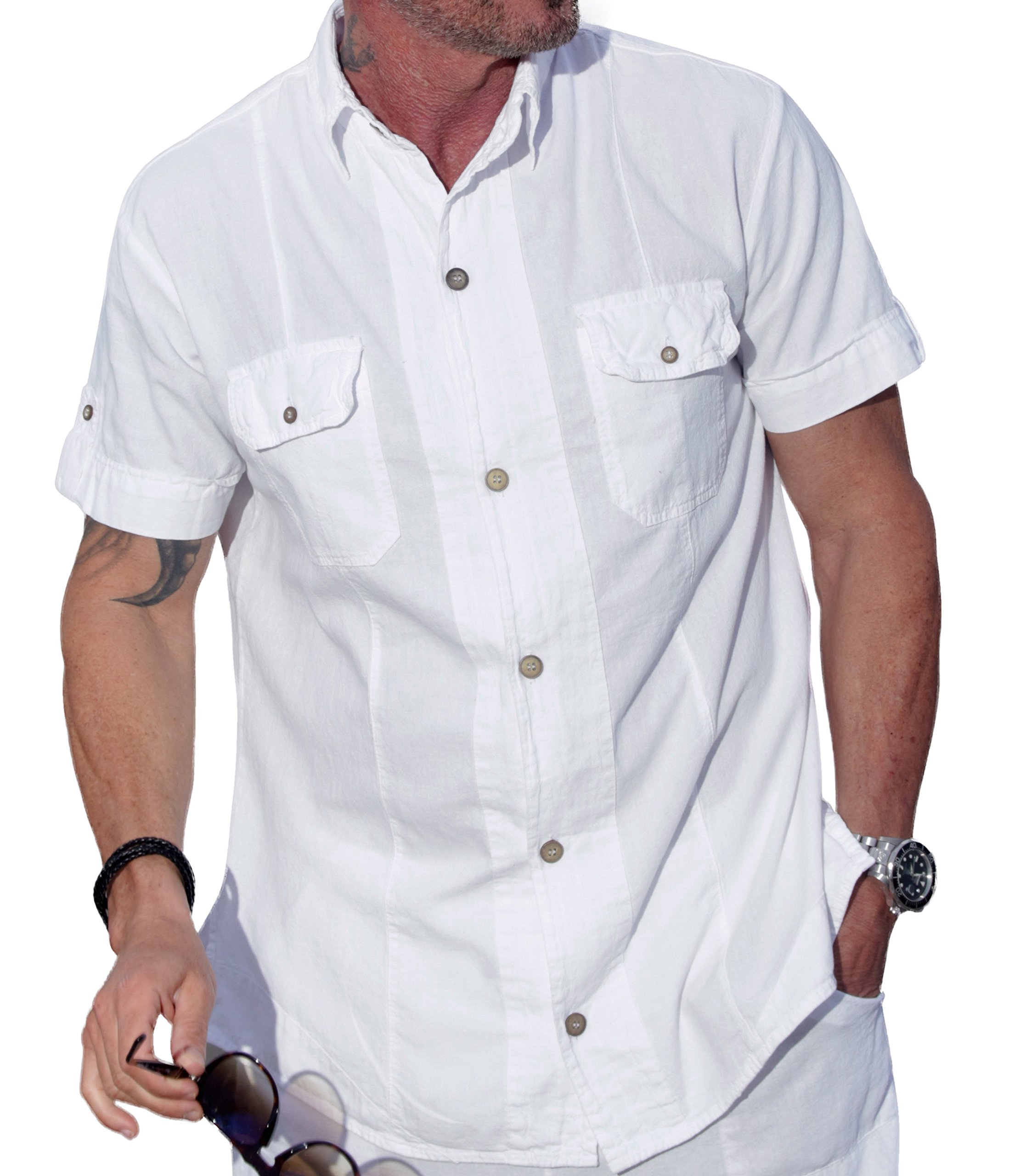 M&B USA Cotton White Natural Two Pocket Short-Sleeve Button Down Casual Shirt (X-Large, White)