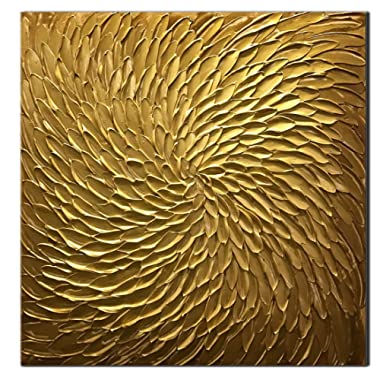 Amei Art Paintings, 24X24 Inch Paintings Oil Hand Painting 3D Hand-Painted On Canvas Abstract Artwork Art Wood Inside Framed Hanging Wall Decoration Abstract Painting (Golden)