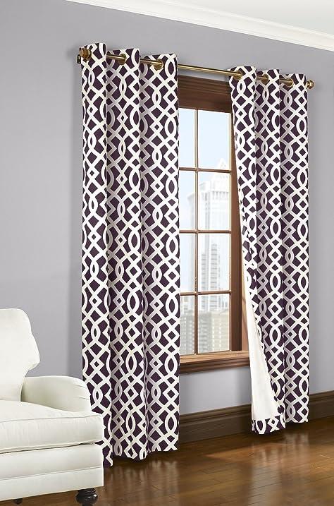 Trellis Thermalogic Aubergine 80quot X 84quot Grommet Top Curtains