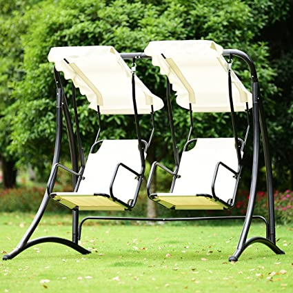 TANGKULA 2 Person Hammock Porch Swings Patio Outdoor Steel Frame Hanging  Loveseat Canopy Glider Swing