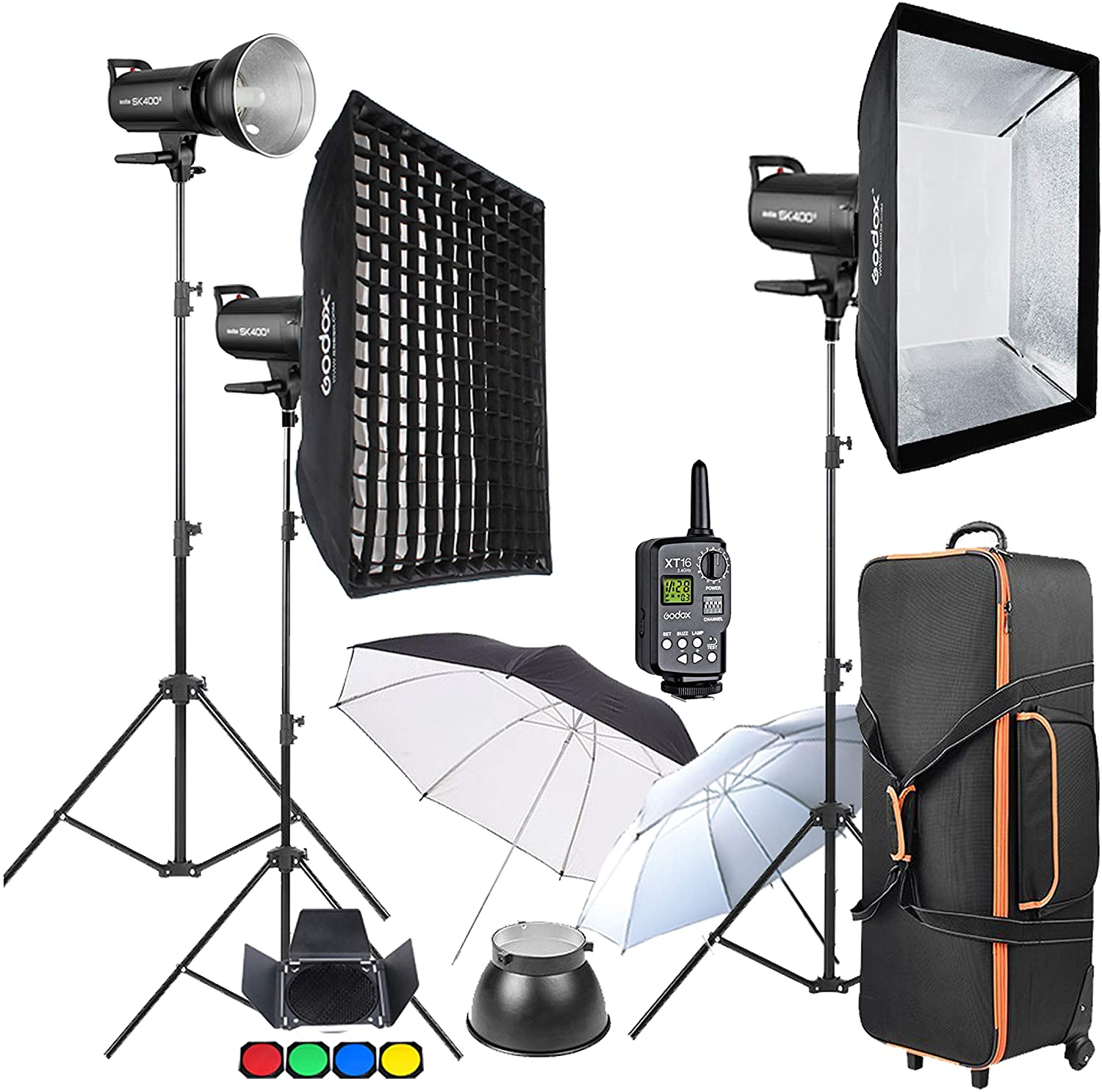 Umbrella Barn Door Carrying Case Accessory Kits Wireless Trigger GODOX SK400II 3 x 400Ws 2.4G Bowens Mount Strobe Flash Kits for Photography Lighting Portrait Photography Softbox Light Stands