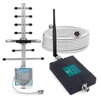 ANNTLENT Amplificador Cobertura Móvil Tri-Banda Repetidor gsm 900MHz WCDMA 2100MHz LTE DCS 1800MHz para Obtenga Llamadas Señal 2G 3G y 4G en Su ...