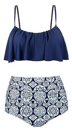 c2132b7a1f Amazon.com: EasyMy Womens Vintage Two Piece High Waisted Swimsuit Flounce/Halter  Bikini Set: Clothing