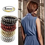 cotie スプリング メタリックカラー ヘアゴム ポニーテール 髪飾り ヘアアクセサリー 4色 8本 セット