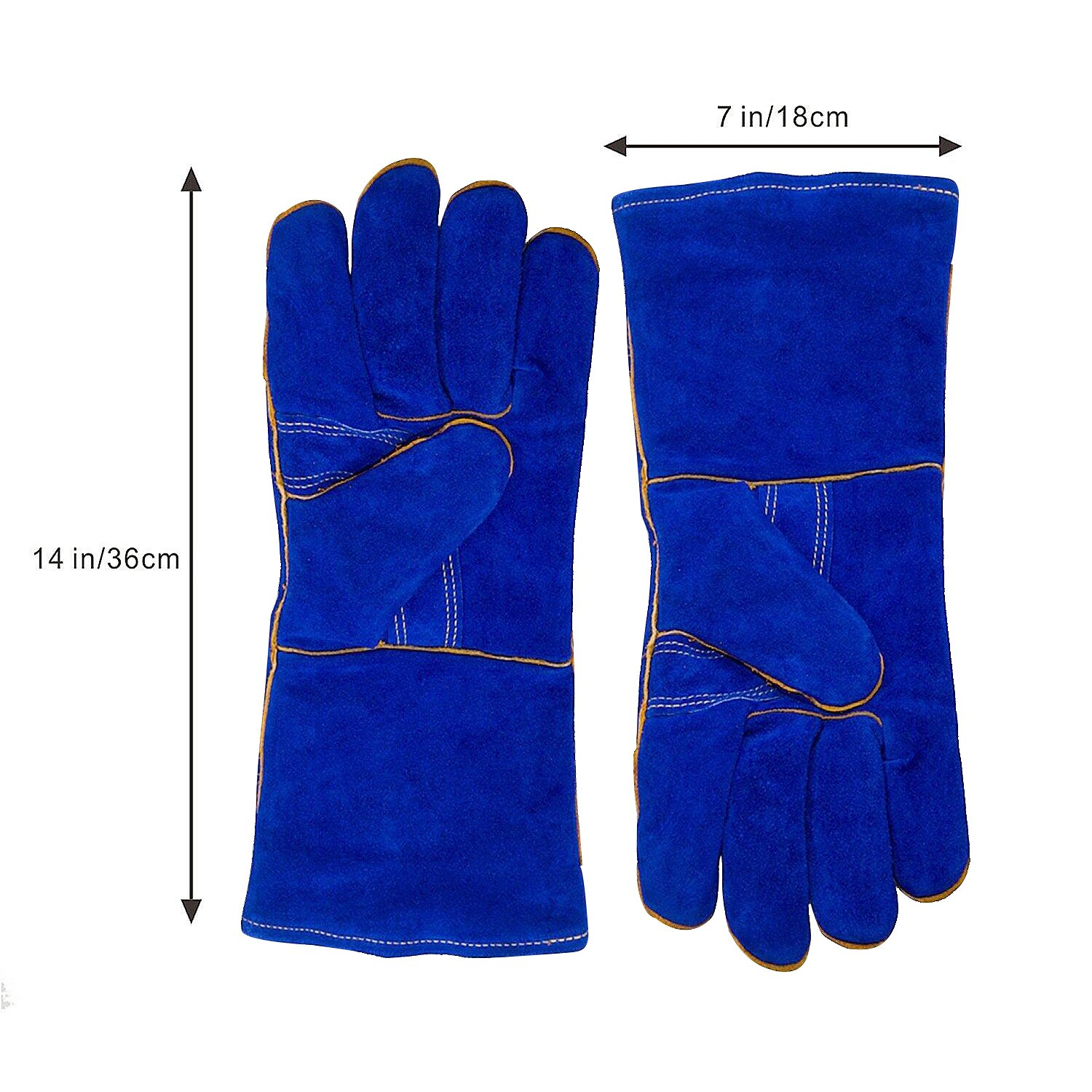KIM YUAN Leather Welding Gloves - Heat/Fire Resistant, Perfect for Gardening/Oven/Grill/Mig/Fireplace/Stove/Pot Holder/ Tig Welder/Animal Handling/BBQ - 14inches by KIM YUAN (Image #6)