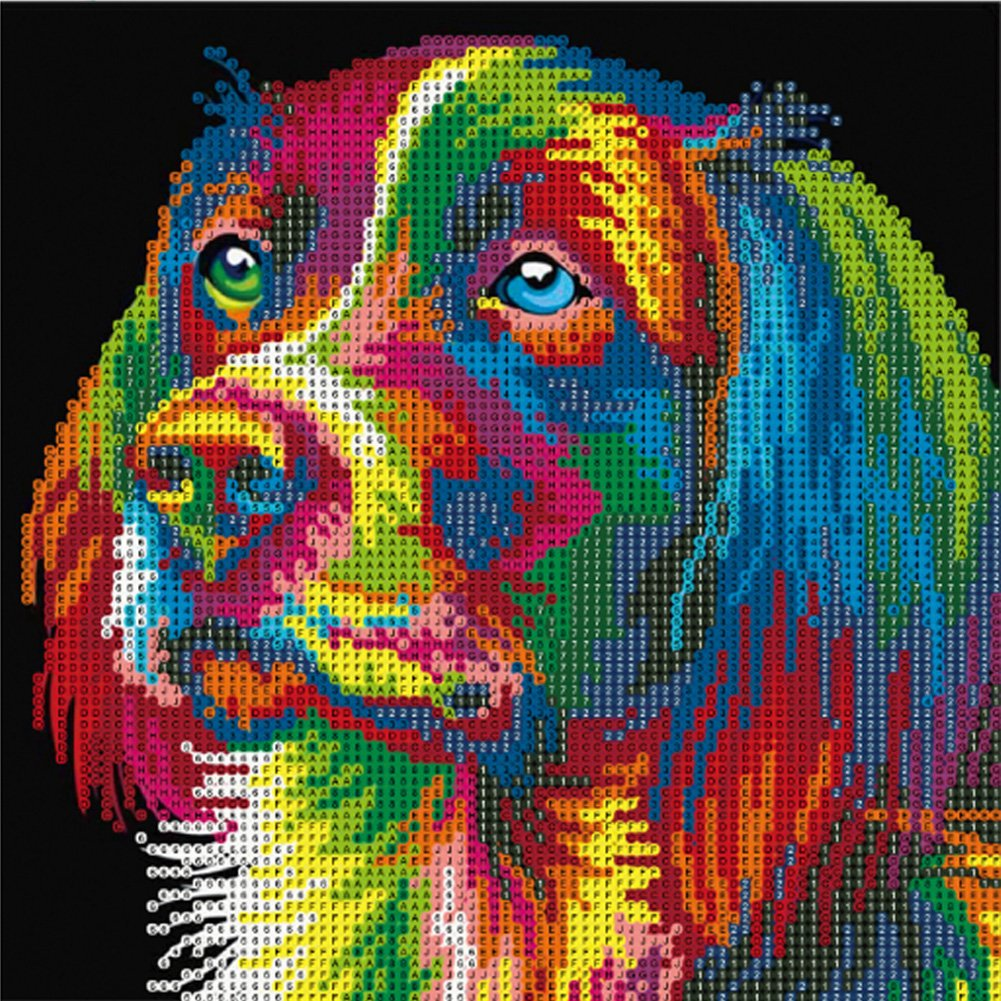 MXJSUA DIY 5D Diamond Painting Kits trapano cristalli e ricamo PICTURES Arts Craft for home Wall Decor Gift Colored Dog 12/ x 12IN