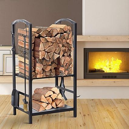 Amazon Com Steel 2 Tier Heavy Duty Firewood Rack Indoor Outdoor Log Holder With 4 Tools Garden Outdoor