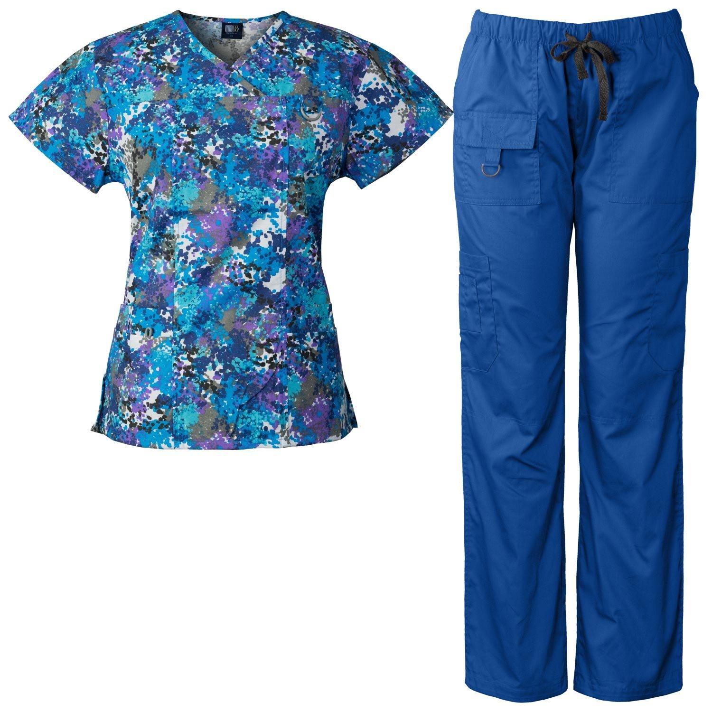 Medgear Women's Scrubs Set Multi-Pocket Top & Pants, Medical Uniform SPWH