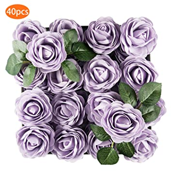 Tophouse 40pcs Artificial Flowers Roses Real Touch Fake Roses For Diy Wedding Bouquets Bridal Shower Party Home Decorations Lilac
