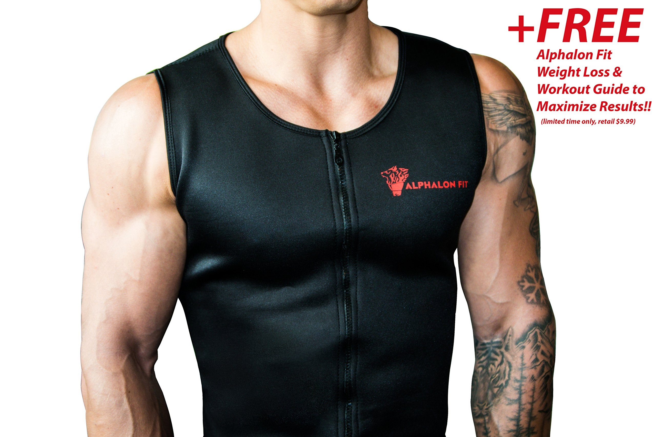 Alphalon Fit Men's Premium Waist Trainer Vest | Weight Loss, Sauna, Body Shaper, Sweat, Belt, Corset, Hot Neoprene with Zipper | Burn Extra Fat with a Free Simplified Weight Loss Guide (2X-Large)