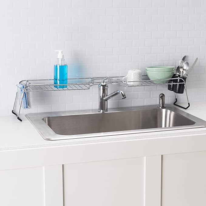 Amazon.com: Home Basics Over The Sink Chrome Shelf: Home & Kitchen