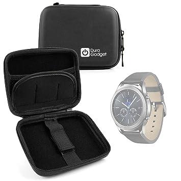 DURAGADGET Funda Rígida para Smartwatch Garmin Forerunner 35 / Samsung Gear S3 / Tomtom Touch/Adventurer/Runner 3 + Mini Mosquetón - Negra