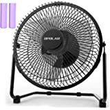 OPOLAR Battery Operated Rechargeable Desk Fan for Home Camping Hurricane, 9 Inch Battery Powered USB Fan with Metal Frame, Qu
