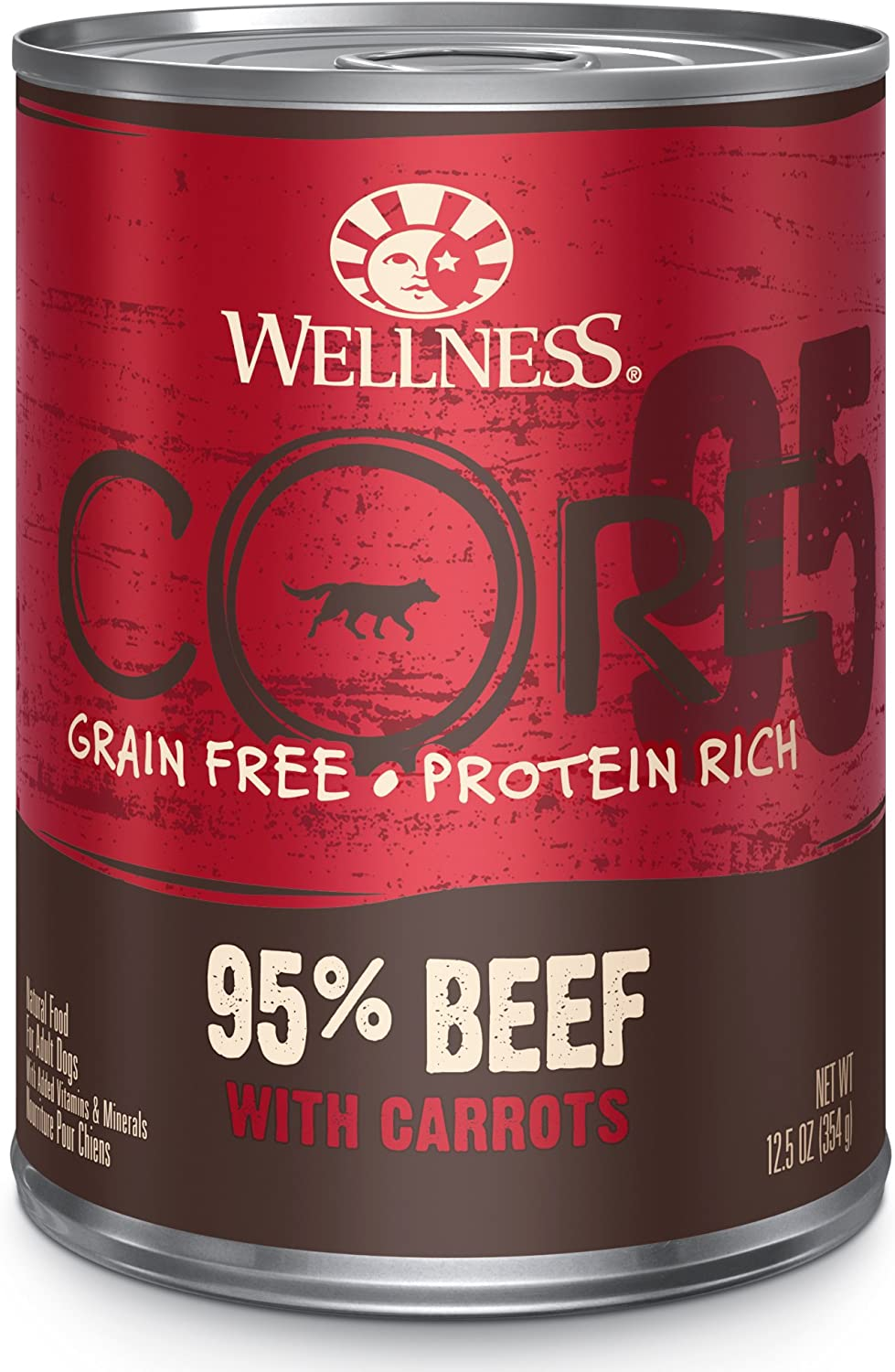 Wellness CORE 95% Natural Wet Grain Free Canned Dog Food, Beef & Carrots,12.5-Ounce Can (Pack of 12)