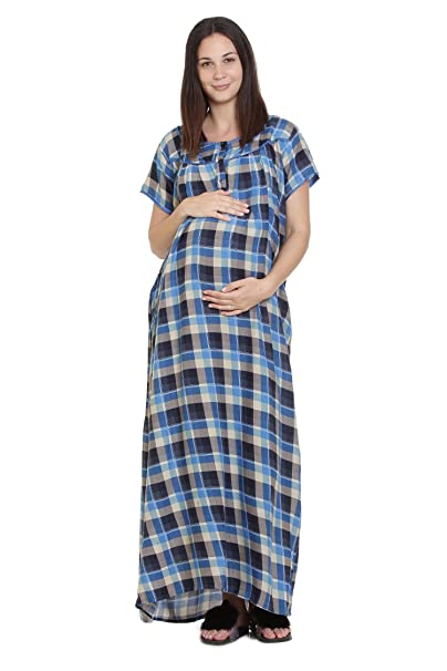 9b0c1318bac GOLDSTROMS Women s Rayon Minelli Maternity Feeding Nursing Night Dress  (Blue