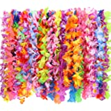 50 Piezas de Guirnalda de Flores Hawaiana Collar Floral Vibrante Colores Variados para Fiesta Temática de Playa Decoraciones Favores Adornos