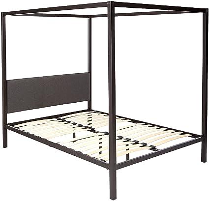 Amazon.com: Modway MOD-5570-BRN-GRY Raina Metal Canopy Bed Frame ...