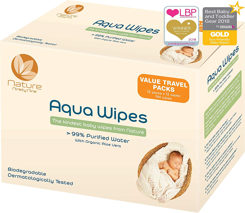 Toallitas húmedas Aqua Wipes, (12 x 12 toallitas de viaje (144 toallitas)), AQW12F, Veganas, Biodegradables, sin plástico, 99.6% de Agua Purificada, NHS APROBADO, Toallitas para bebé Aqua Wipes Clinicept Healthcare