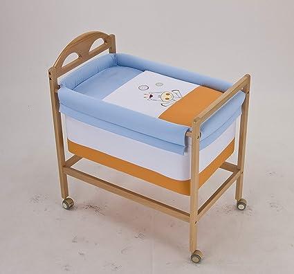Minicuna bebe bordado JIRAFA. Incluye: Vestidura+Colchita+Cabezal+Estructura madera+