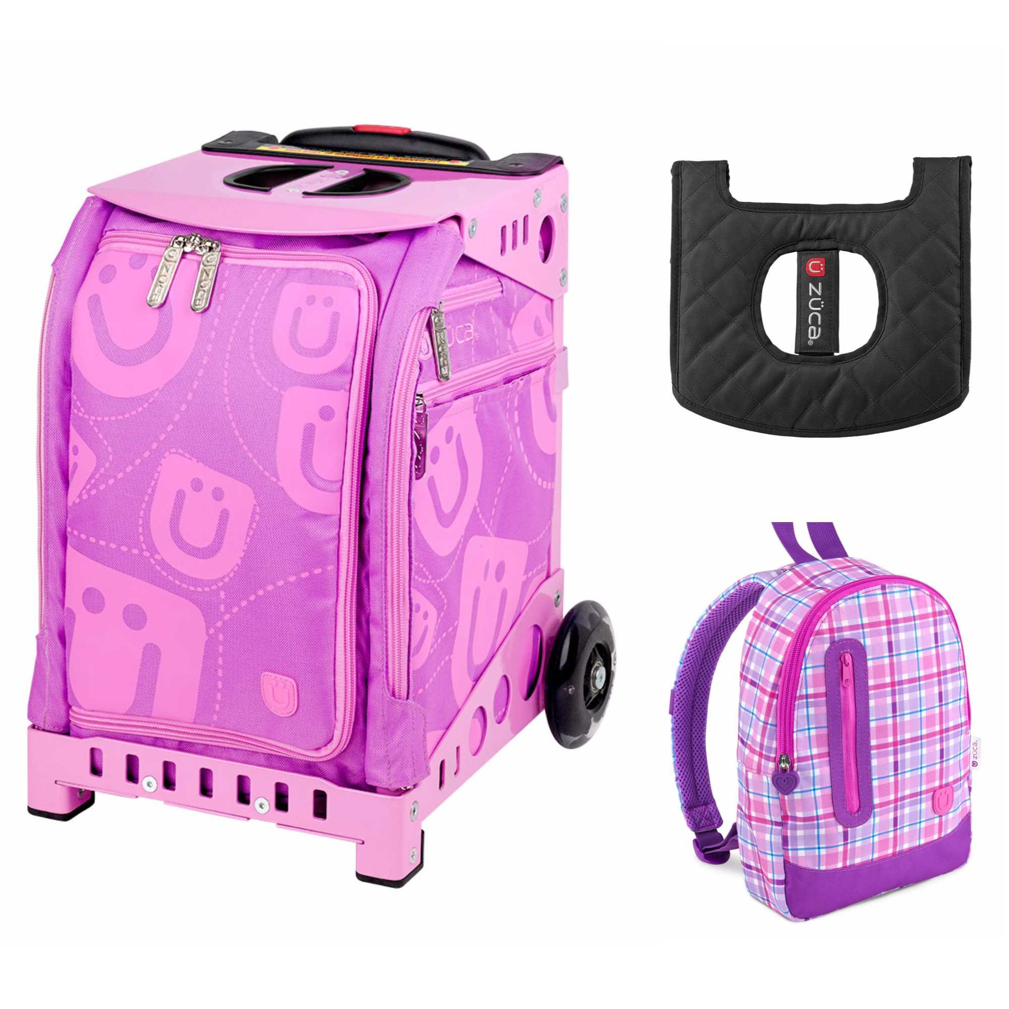 ZUCA Kids' Mini Smile Bag / Pink Frame + Backpack and Seat Cushion by ZUCA