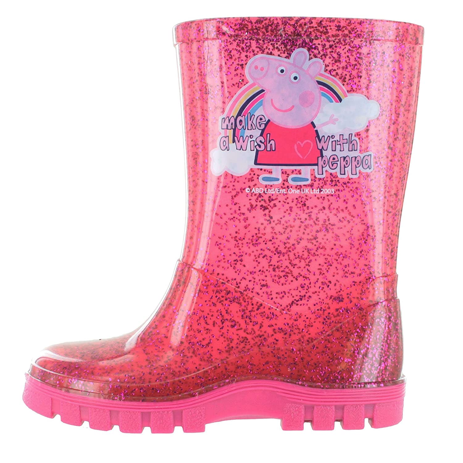 Peppa Pig Glitter Pink Make A Wish Wellington Boots UK Sizes 4-10 William Lamb