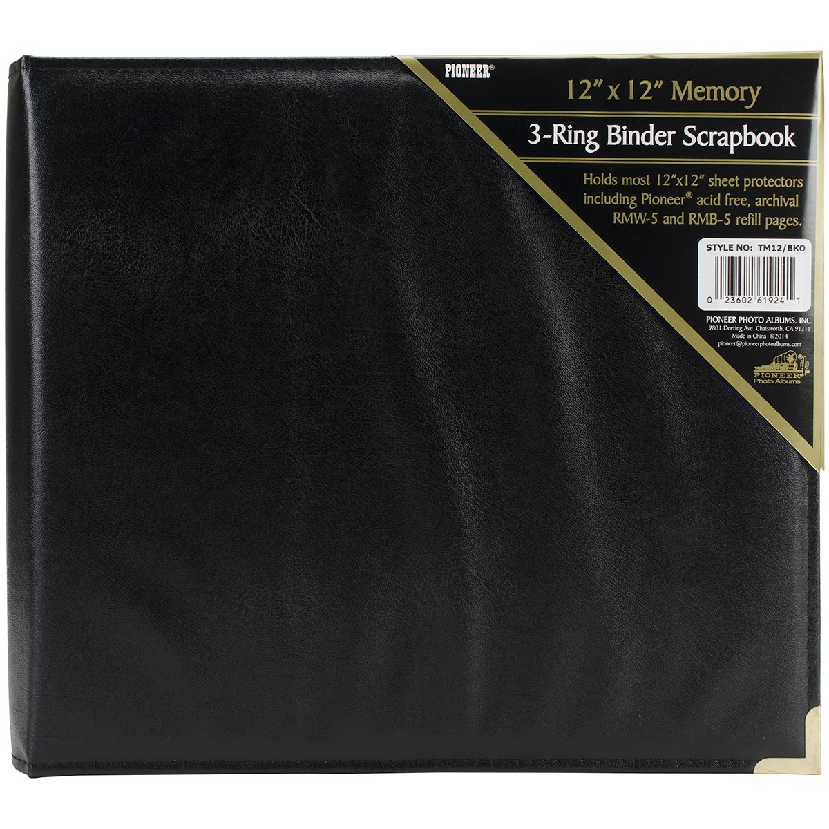 Pioneer holds 12 Inch by 12 Inch 3-Ring Sewn Oxford Cover Memory Book Binder, Black
