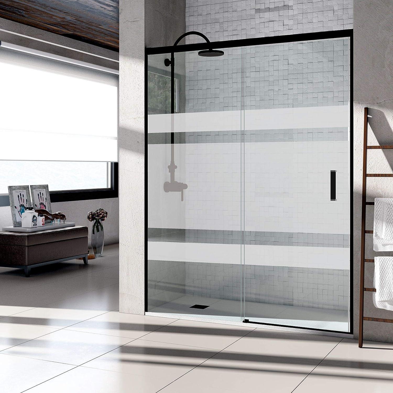Mampara de ducha frontal puerta corredera, perfil NEGRO y cristal serigrafiado con vinilo - Sin perfil inferior. Fabricado en España (167 a 170 cm.)
