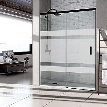 Mampara de ducha frontal puerta corredera, perfil NEGRO y cristal serigrafiado con vinilo - Sin perfil inferior. Fabricado en España (127 a 136 cm.): Amazon.es: Bricolaje y herramientas