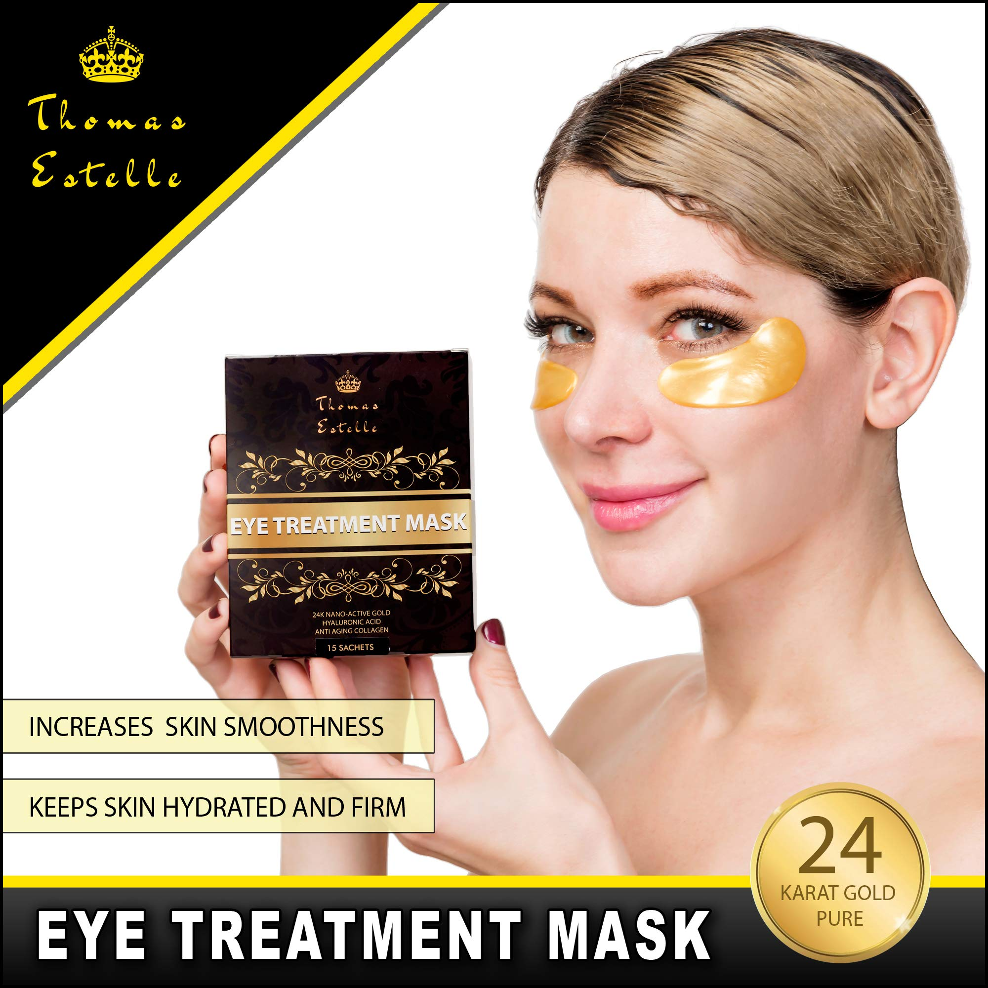 Under Eye Bags Treatment - Gel For Puffiness, Wrinkles, Dark Circles, Crows Feet, Puffy Eyes -24k Gold Luxury - The Best Natural Collagen Mask - Women And Men Masks - Anti Aging Moisturizer Pads by Thomas Estelle (Image #3)